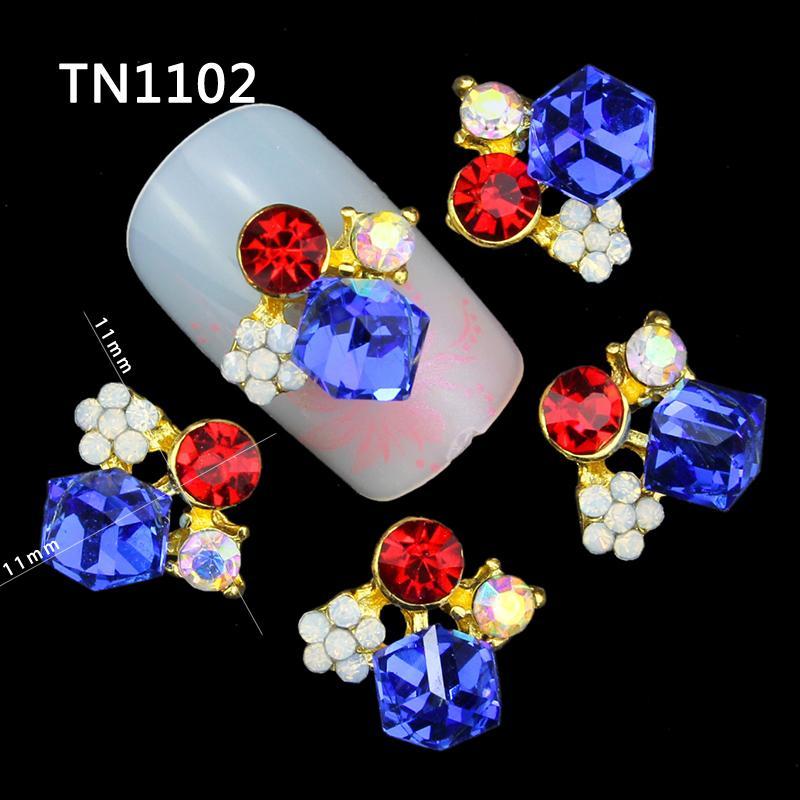 10 Pcs 3D Nail Art Decorations Gold Alloy Diy Glitter Geometric Charm Red Blue AB Rhinestone