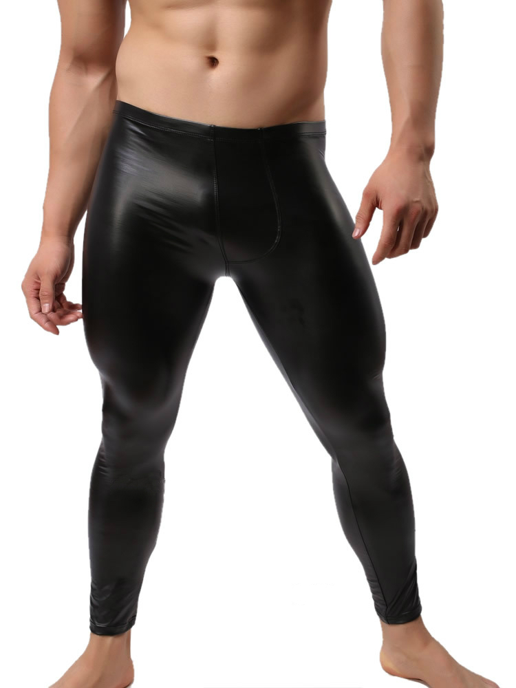dd7b36eb901 2019 Wholesale Fashion Mens Black Faux Leather Pants Long Trousers Sexy And Novelty  Skinny Muscle Tights Mens Leggings Slim Fit Tight Men Pant From Cacy