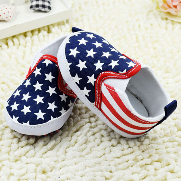 Best Price Toddler White Star Print Crib Shoes Kids Anti Slip Shoes Soft Sole Prewalker
