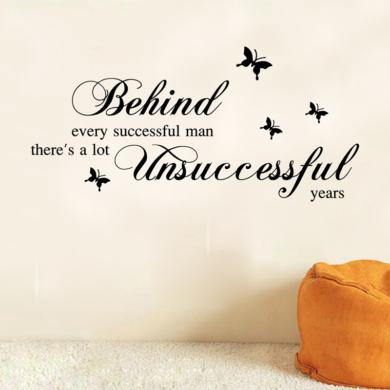 Every Successful Man <font><b>Inspirational</b></font> Quotes Wall Stickers Poster Mural Art Butterfly Wallpaper Vinyl Decals for Bedroom <font><b>Home</b></font> <font><b>Decor</b></font>