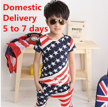 Clearance Teen clothes flag star strip Outfits for juniors kids Teenager children sports suit big