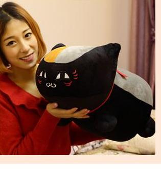 new creative plush big eyes teacher cat toy plush black cat doll gift about 60cm