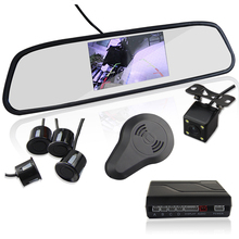 3in1 Video Parking Sensor Assistance Monitor 4.3inch TFT LCD Display + Alarm + Camera Video Rearview Mirror Reverse Radar System