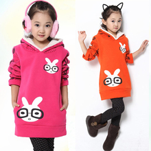 New Winter Sweater Big Girls Bunny Hoodie Kids Clothes Girls Sweatshirt Gilrs T shirt Kids Sweaters Long Sleeve Baby Coats