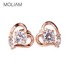 Moliam 2016 moda coração brincos 18 k Rose / branco chapeamento de ouro pedras de zircônia cristal brincos E035