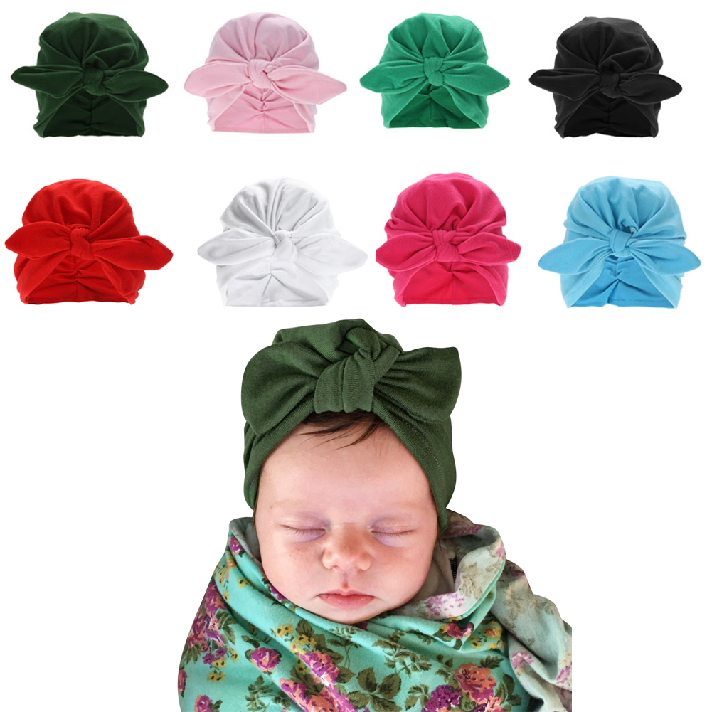 3de6534ac Winter Baby Hat Infant Warm Soft Bowknot Hat Rabbit Ears Elastic Lovely  Girls Beanies Cap for 0-3Y Newborn Knitted Cap Skullies