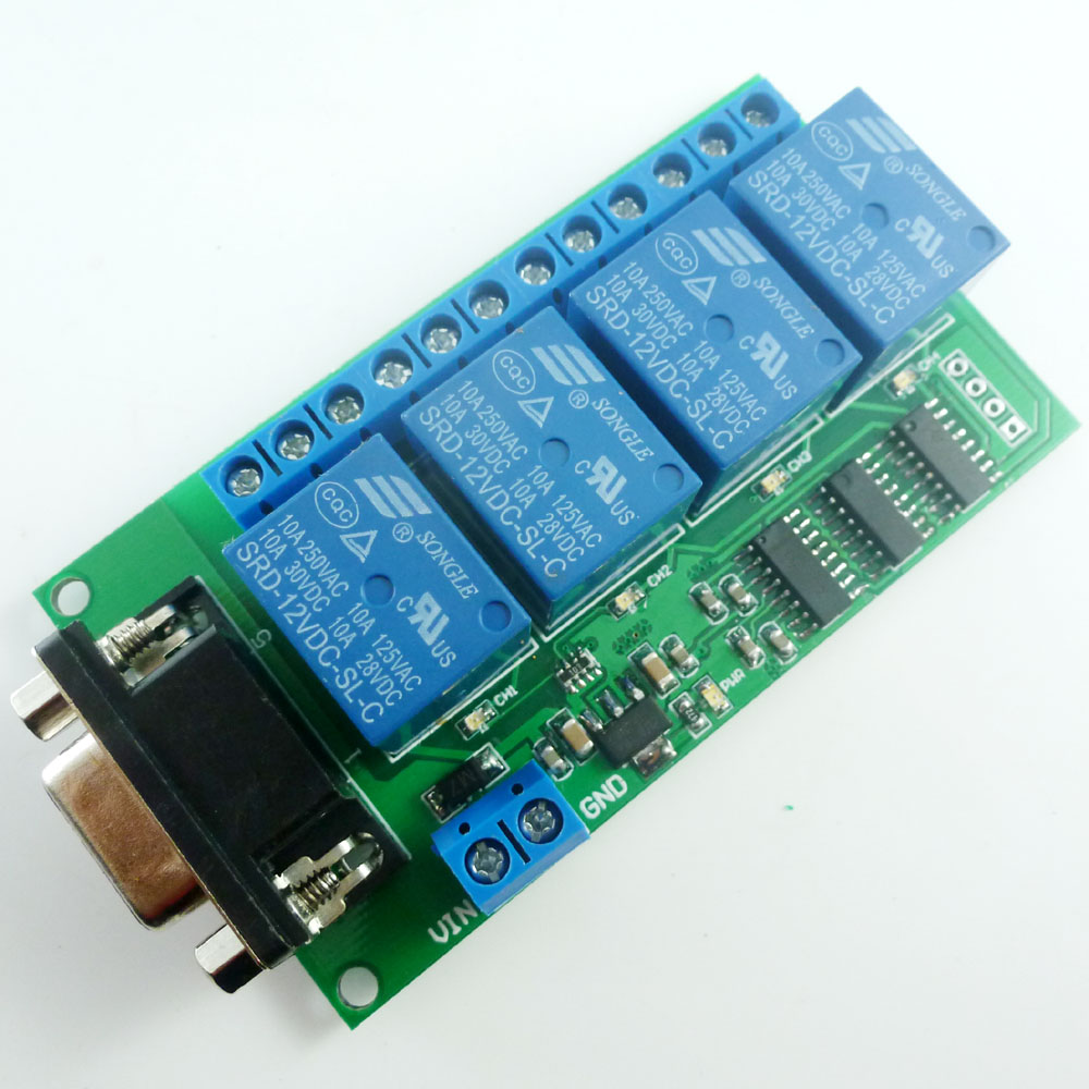 Dc 12v 4 Channel Rs232 Relay Board Pc Usb Uart Db9 Remote