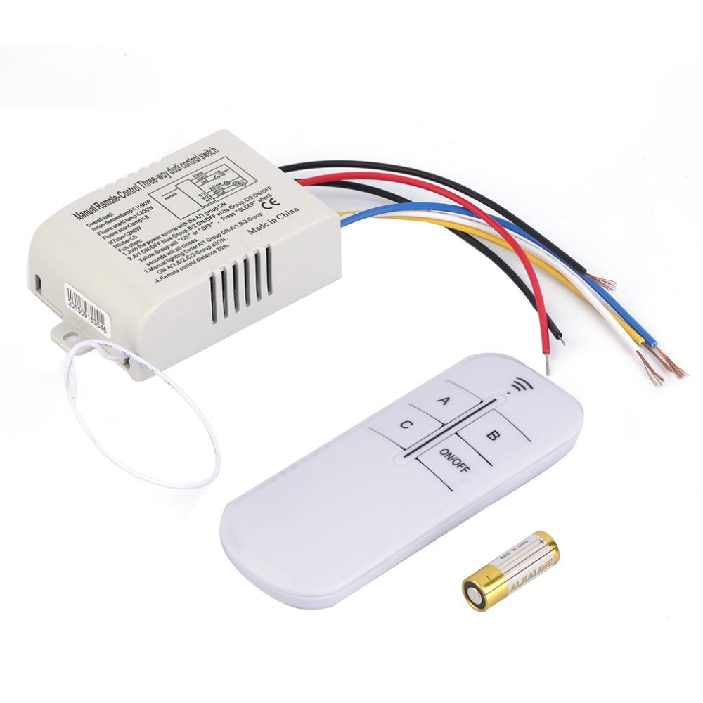 Hot! 220V 3 Way ON/OFF Digital RF Remote Control Switch