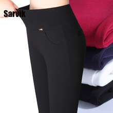 Sale!Thick warm women winter office work pants High stretch cotton ladies pencil pants black red sapphire female office trousers