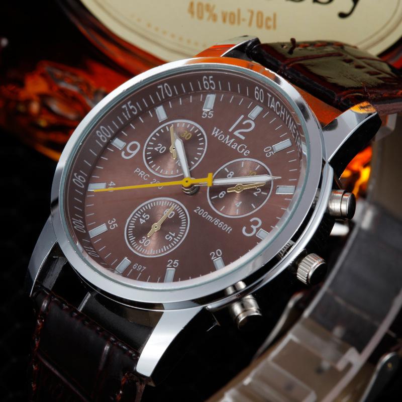 Fashion New Promotion High Quality Clock Hour Analog Leather Quartz Watch Fashion Trendy Men Wristwatches Free