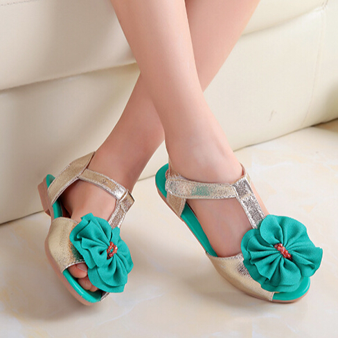 2016 Girls Sandals Kids Shoes Withe Big Flower Princess PU Leather Shining Sandals Magic Stick Open