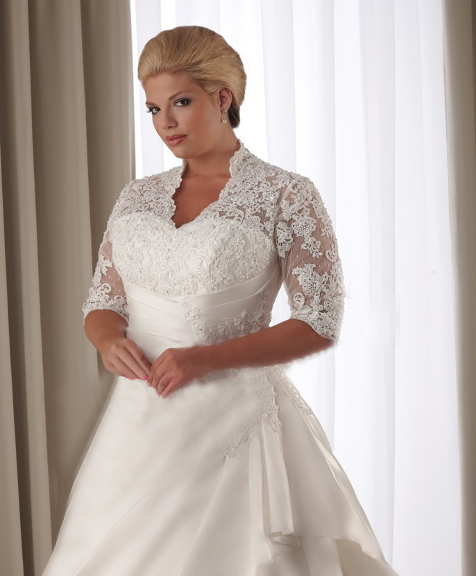 Lace Covered Shoulders 1/2 Length Sleeve Back Lace Up Plus