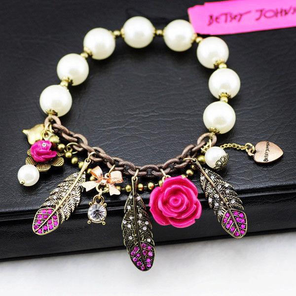 Браслет для женщины кристалл перо цветок кулон белый бусины простирание браслет девочка влюбленность лучший