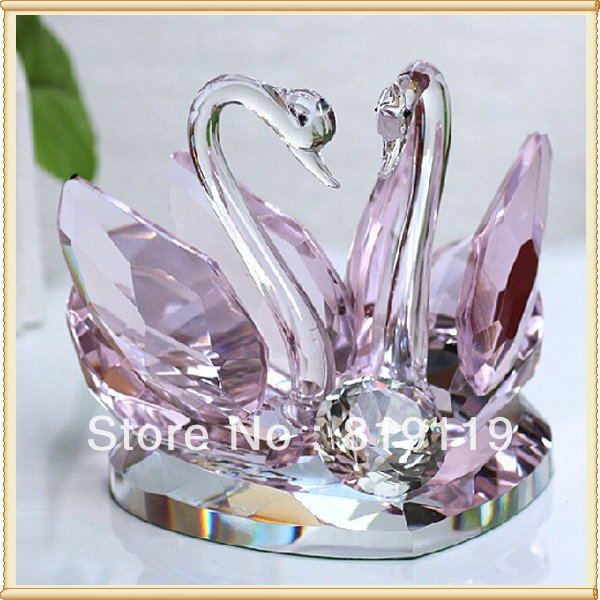 Cheap Return Gifts For Wedding: Couple Swans Cheap Crystal Decoration Wedding Favors For