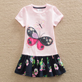 2016 Neat retail BABY Girl Clothes short Sleeve Girls Dress Kids pretty Dresses A line children