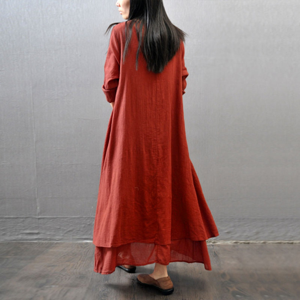 0e9ecc2e2bd05 Wholesale-2016 Fashion Women Autumn Cotton Linen Boho Solid Long Maxi Dress  Casual Loose Long Sleeve V-Neck Dress Vestidos Plus Size Hot