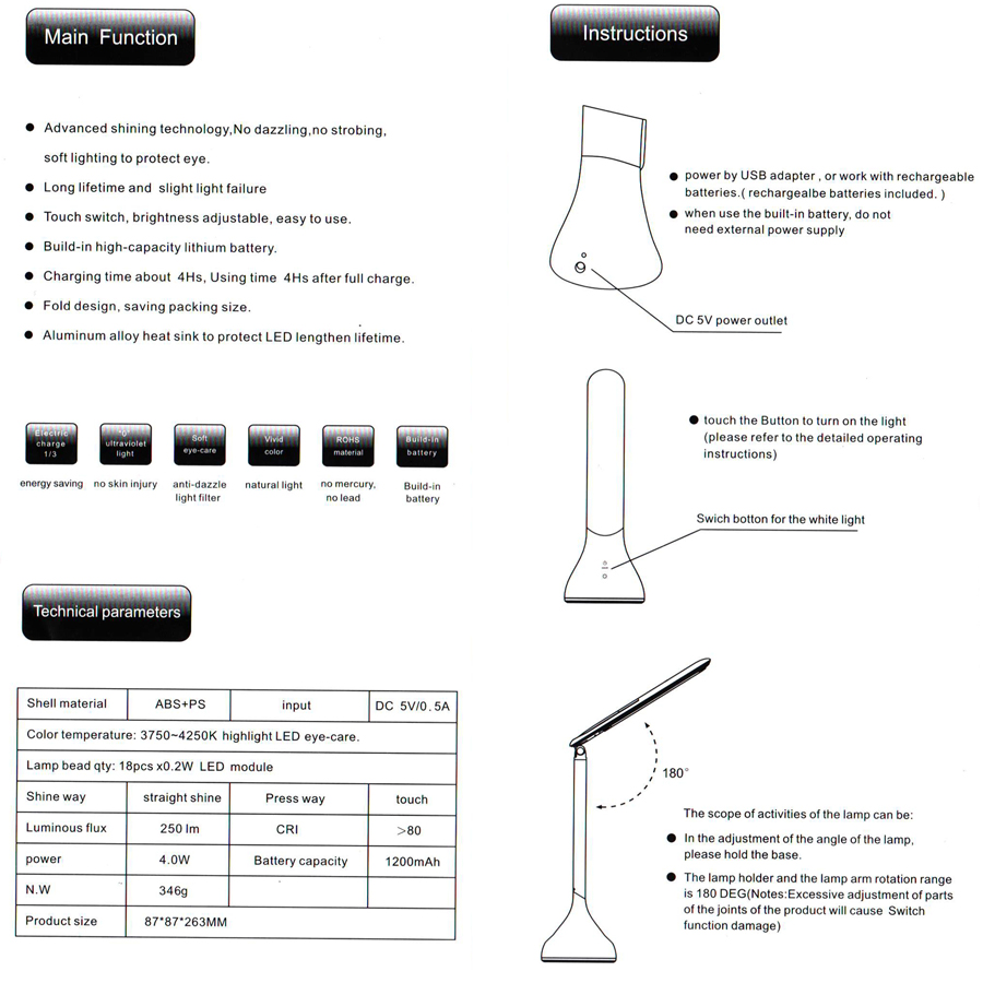 Dc5v Foldable Led Desk Lamp Touch Portable Table Light Usb