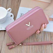 Кошельки для телефона, женские бумажники, большой женский кошелек, брендовый женский длинный кошелек в стиле ретро, клатч для карт с двойной...(Китай)