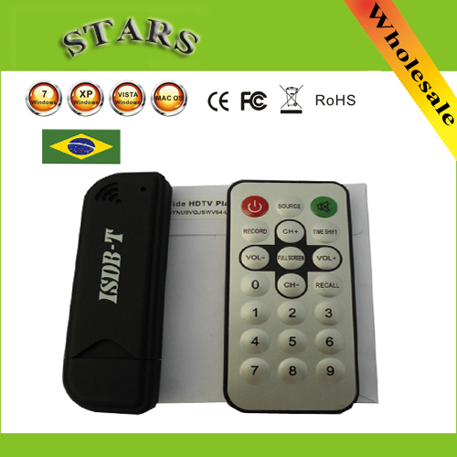 New 2014 Mini Digital ISDB-T USB2.0 TV HDTV Tuner Stick Receiver Recorder With Remote+Antenna for Brazil,Wholesale Free Shipping