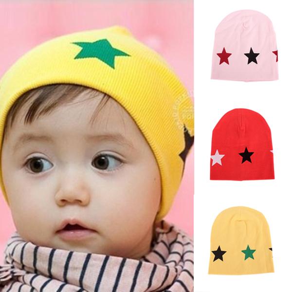 New Arrivals 6M 2Y Girls Boy Kids Infants Baby Winter Cotton Beanie Hat Cartoon Pentagram Print