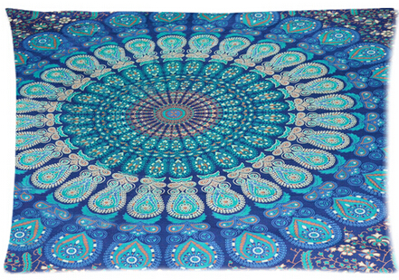 Hippie Mandala Tapestry Hippie Tapestries Style Funny Two-sided Pillow Cover Rectangle Throw Pillowcase Zippered Cover