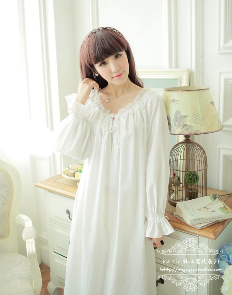 Free Shipping 100 Cotton Princess Nightdress Royal Pijamas 8228dda1d