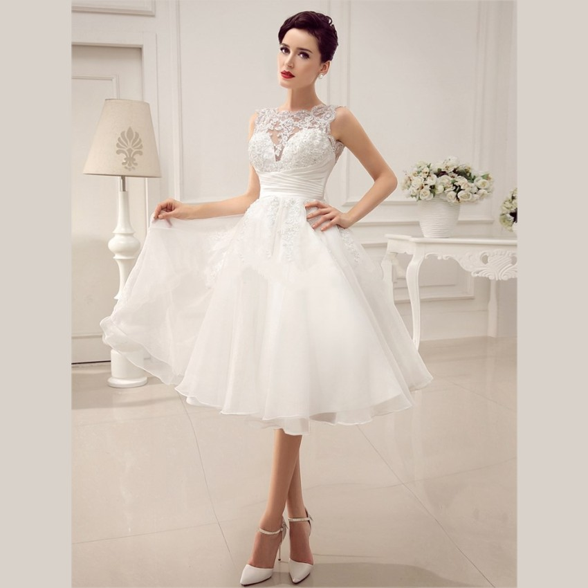 Short Lace Wedding Gowns: 2015 Cheap White Lace Short Wedding Dresses Beaded