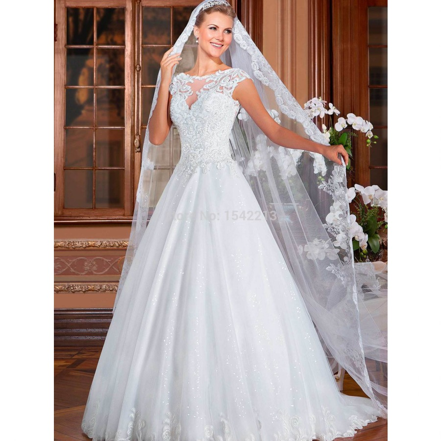 Wedding Gowns With Cap Sleeves: Aliexpress.com : Buy Luxury Beaded Cap Sleeve Lace Dress