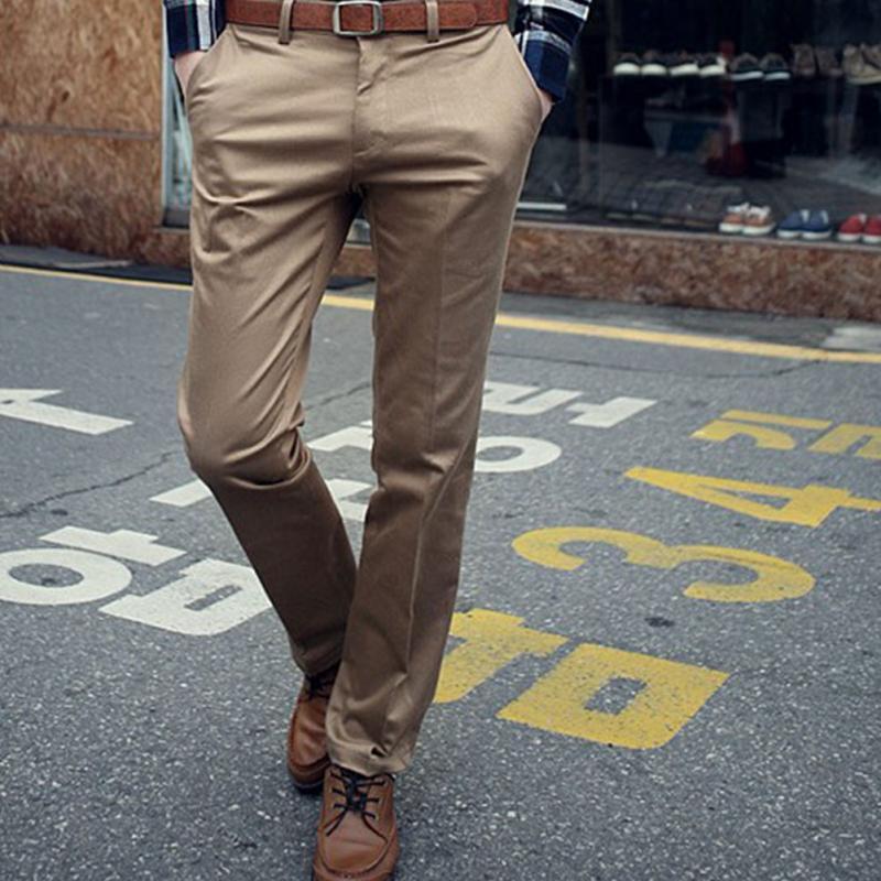 2019 Fashion Brand Men Work Wear Office Slim Fit Flat Suit Pants