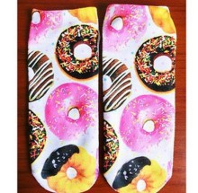 New  2014  New Women Multiple Colors Harajuku 3D Printed Cute Unisex Cotton High Socks