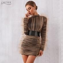 Женское короткое вечернее платье ADYCE, черное платье-чехол, драпированное органзой песочного цвета, с длинным рукавом, в стиле звезд, для поди...(Китай)