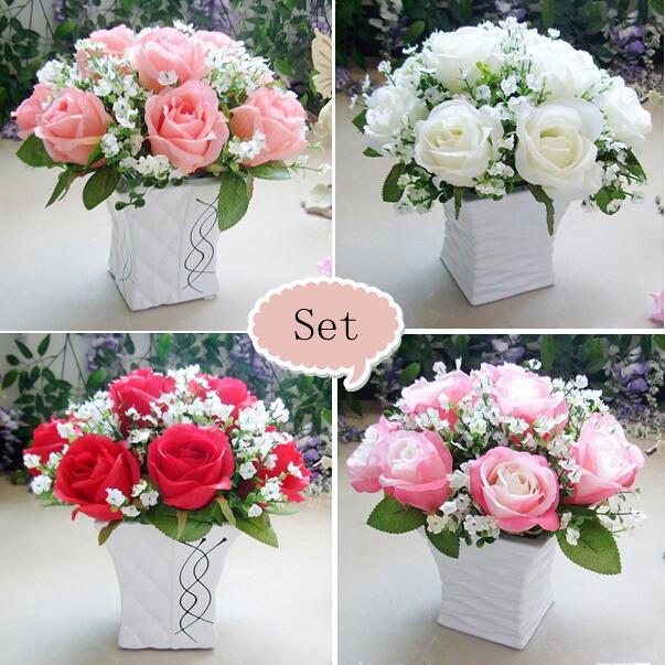 acheter rose gypsophila avec vase fleur artificielle ensemble de no l accueil. Black Bedroom Furniture Sets. Home Design Ideas