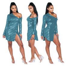 Блестящее яркое сексуальное Клубное платье выше колена, с открытыми плечами, длинными рукавами и пуговицами, расшитое блестками, модное пла...(Китай)