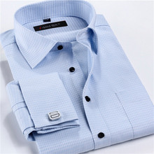 Male French Cufflinks Shirt 2015 New Men's Shirt Long Sleeve Casual Men Shirts Slim Fit French Cuff Dress Shirts For Men