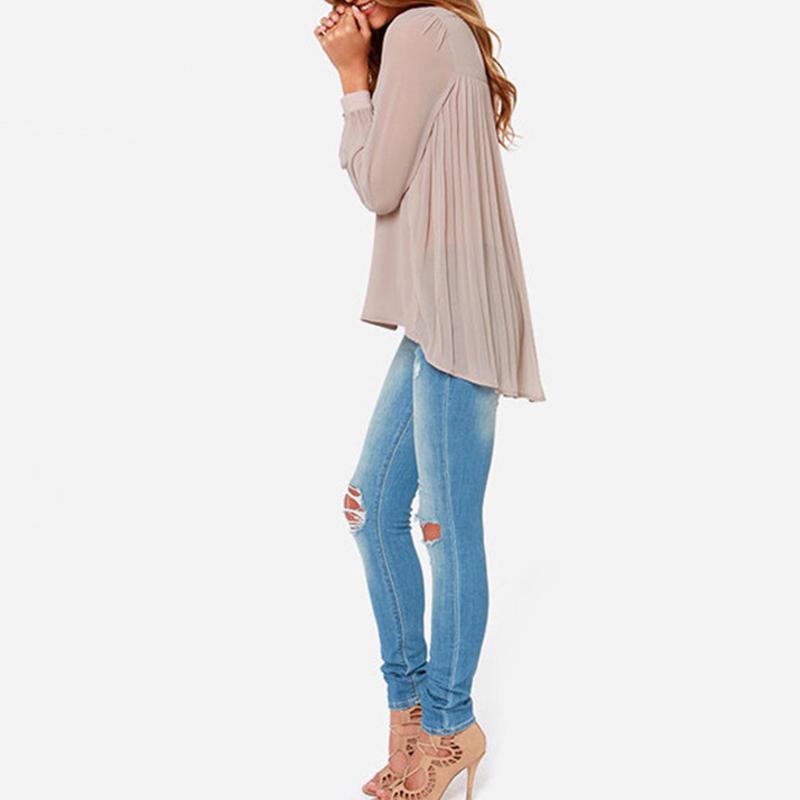 Дамы офис рубашка лето женщины винтажный европейский стиль обнажённый длинный рукав плиссировка задняя часть шифон блузка CE3512