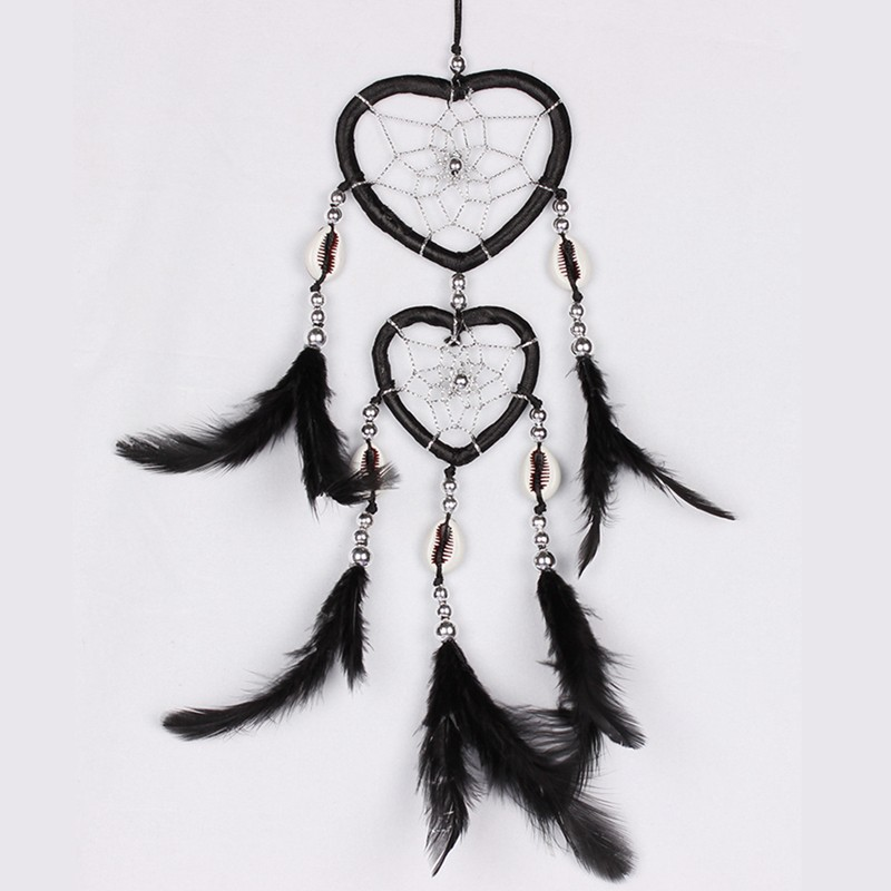 Indian Handmade Heart Shaped Dreamcatcher With Feather Shell Home Car Hanging Decorations Exotic Gift 5 Colors