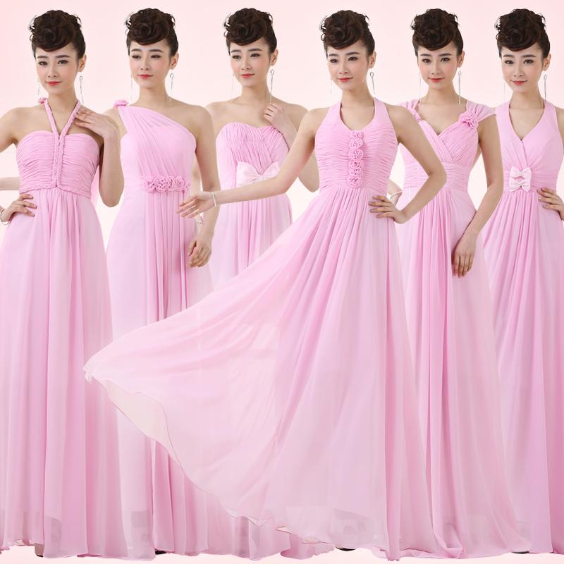 Peach Pink Color Halter Off The Shoulder A Line Chiffon