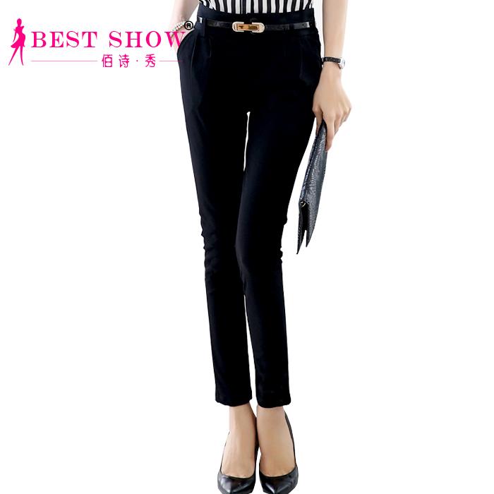 Лето стиль женщины одежда прибытия корейский черный свободного покроя дамы офис карандаш длинная брюки с ремень 1954