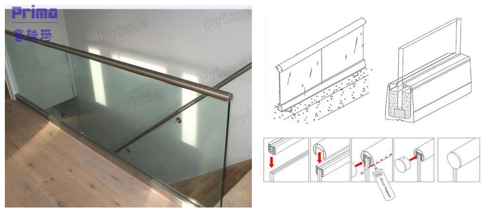 Interior Glass Railing Aluminium Base Shoe View Interior