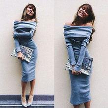 Strečové dlouhé dámské šaty s dlouhým rukávem bez ramen