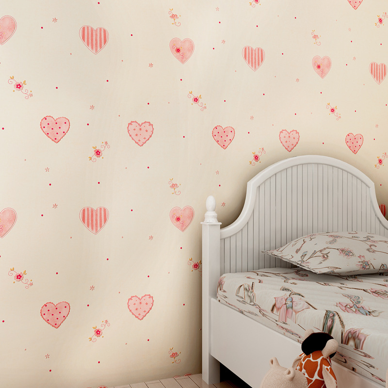 Non Girly Bedroom Ideas: Children's Room Pink Love Heart Shaped Wallpapers Boy Girl