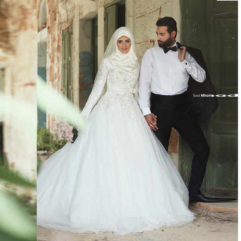 acheter robes de mari e 2016 musulmans hijab robes de mari e avec manches. Black Bedroom Furniture Sets. Home Design Ideas
