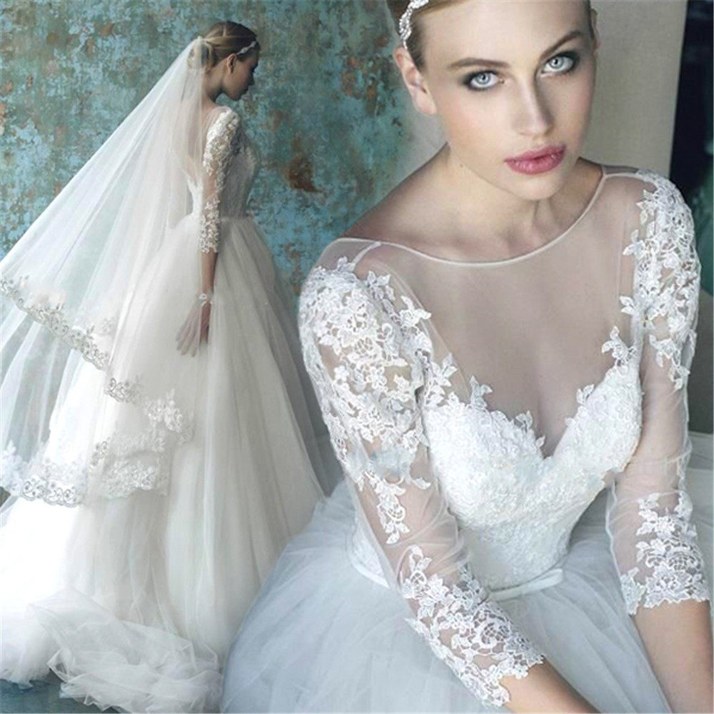 Romantic Wedding Dress With Sleeves 2015 White Lace Bridal