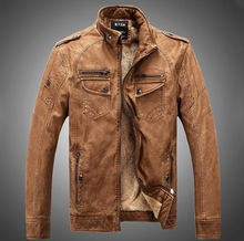 Hot new fashion men's winter jacket plus thick velvet thick leather jacket men