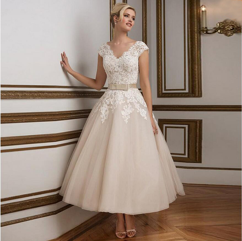 Vintage Short Organza Wedding Dress 2016 New Arrival Ankle
