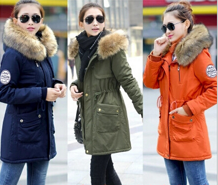 Womens green parka jacket with fur hood