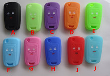 Hot silicone car key cover case shell Holder fob for Chevrolet Cruze AVEO SAIL TRAX MALIBU CAPTIVA 3 Buttons variety of colors