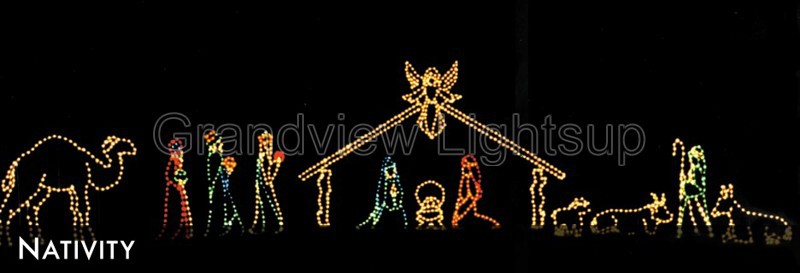 120cm Motif Rope Lights Christmas Bethlehem Nativity Scene