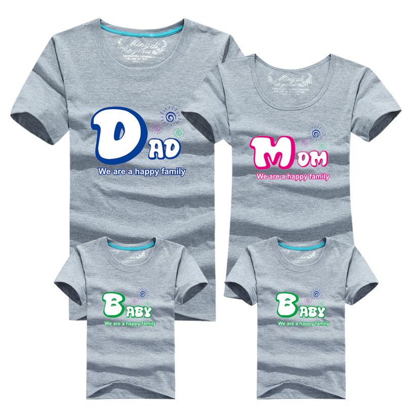 1 пк 95% хлопок семья соответствующие T рубашка женское вилочная часть малыш рубашка короткая рукавом соответствующего одежда комплект папа мама детские футболки