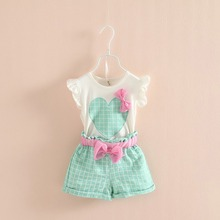 Baby Kids Girls Sleeveless Heart Bow Tops T-Shirt+Plaid Shorts Outfits Children Sets
